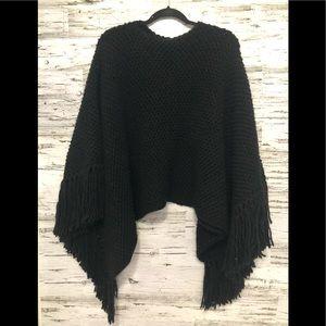 Michael Kors chunky knit black poncho